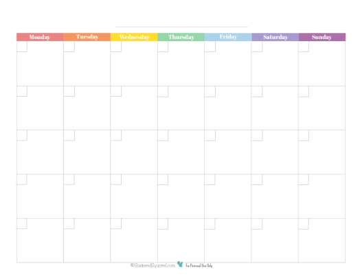 blank monthly calendar in primaryrainbow colors starting on mondays