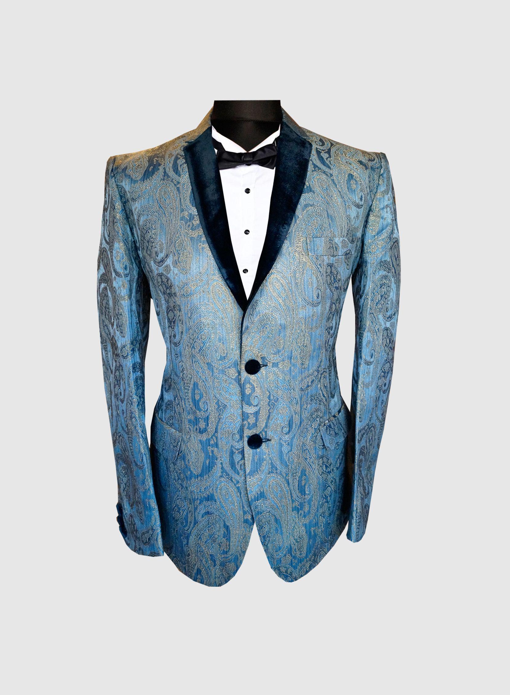 Light Blue Paisley Blazer | Groom suit | Pinterest | Weddings