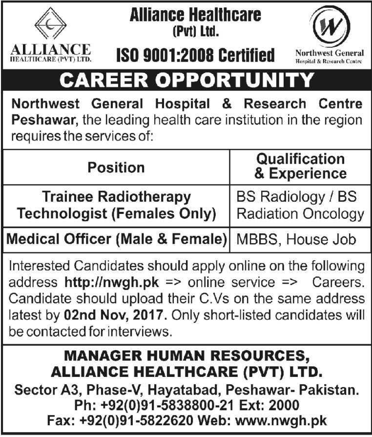 Alliance Healthcare Private Limited Jobs 2017 In Peshawar For