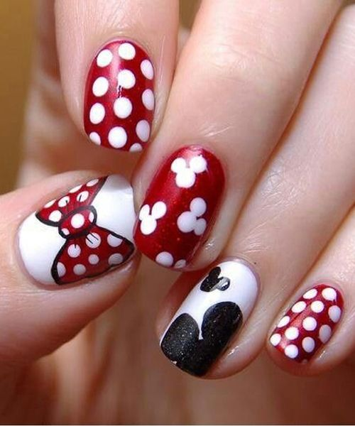 So Beautiful Minnie Mouse Nail Designs Nail Pinterest
