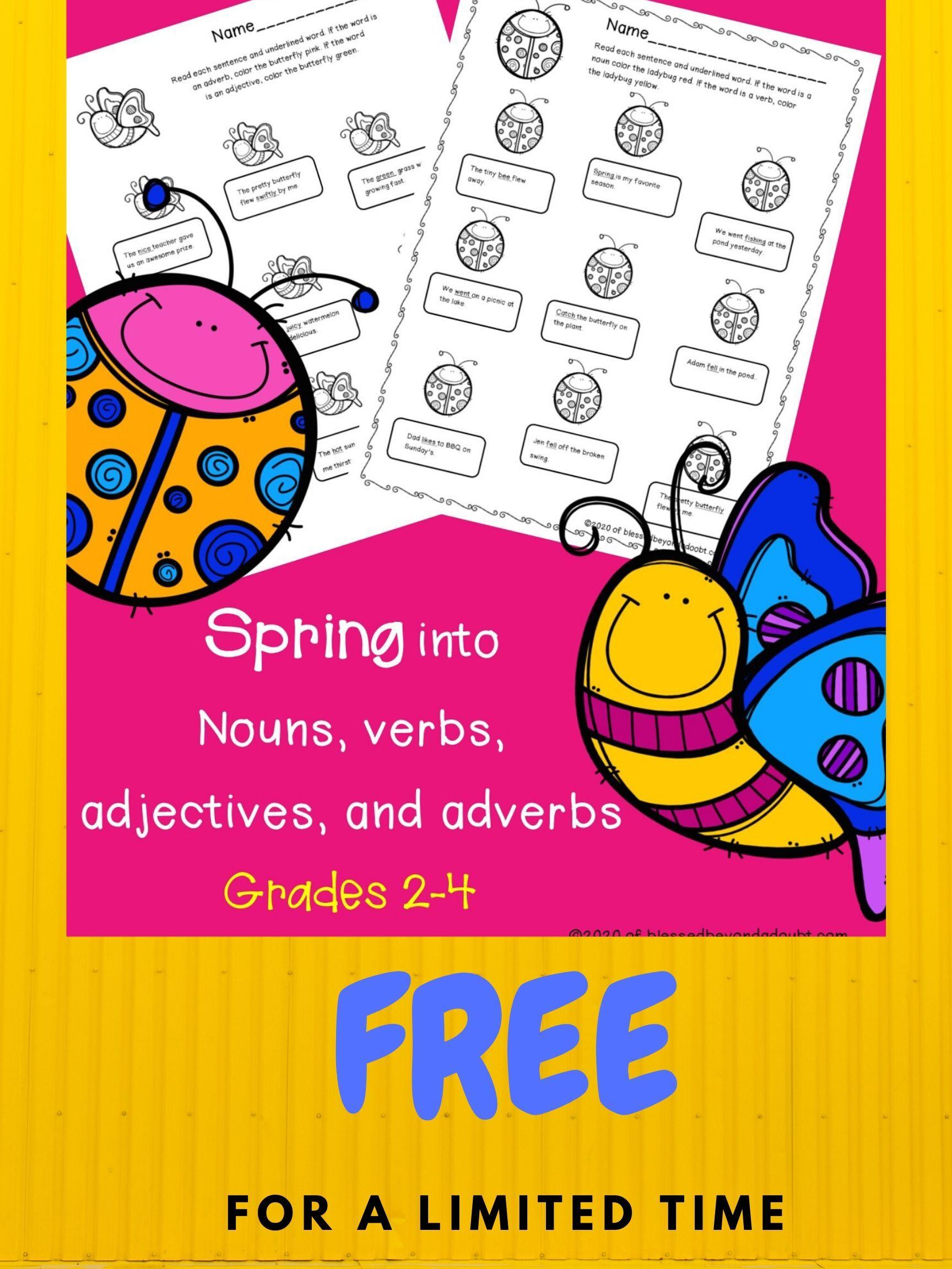 Free Spring Grammar Worksheets Blessed Beyond A Doubt Parts Of Speech Worksheets Grammar Worksheets Free Homeschool Printables [ 2304 x 1728 Pixel ]