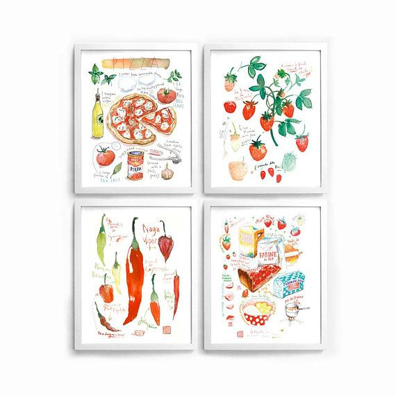Red Kitchen Art Set Of 4 Prints Food Posters Red Kitchen Print