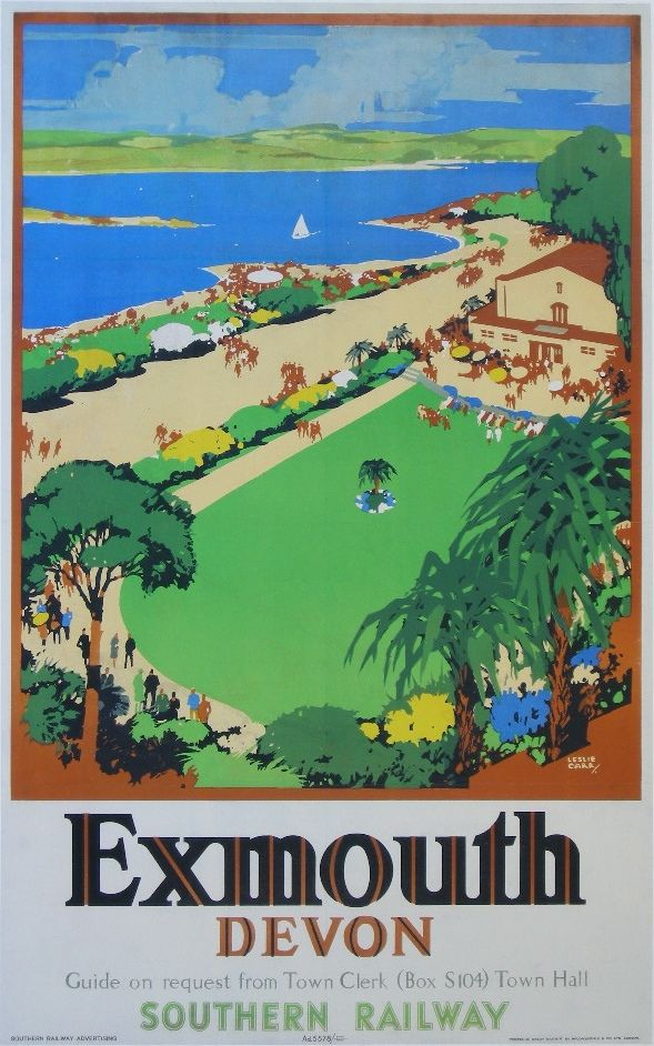 222 Leslie Carr Exmouth Devon Original Poster Printed Lot 222 Railway Posters Holiday Poster Retro Travel Poster