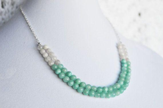 Aqua Stone and White Quartz Double Stranded Semi by GemstoneWorks