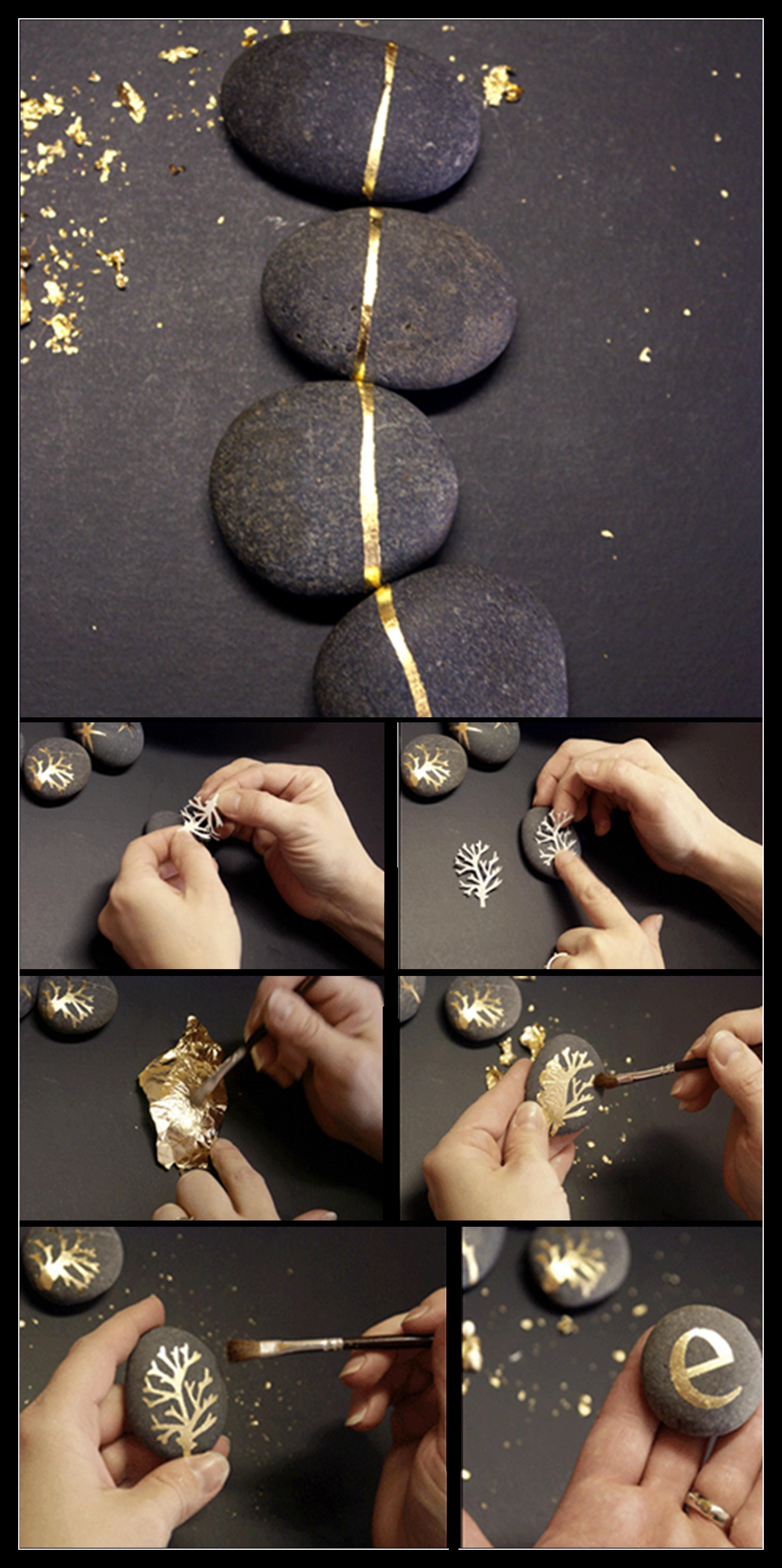 Diy Gold Leaf Rocks Perfect Combo Of Nature And Sparkle