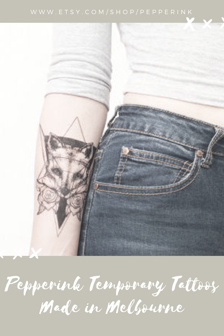 If you decide to get a tattoo look at the image of a fox this animal - Geometric Fox Temporary Tattoo Pepperink Modern Design Animal Made In Melbourne