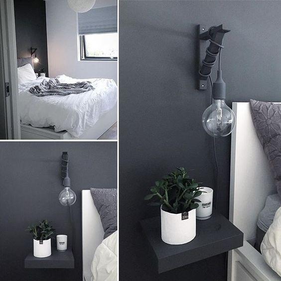 """Photo of Ingunn og Aleksander J. Ribe på Instagram: """"Soverommet = helligdom 😴💤 elsker den grå kontrastveggen bak sengen. Vurderer å male en annen vegg på soverommet. Hva syntes du?"""""""