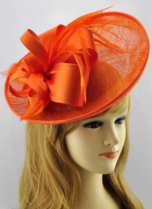 Amazon.com  Orange Feather Mesh Bows Flower Ladies Big Fascinator  Clothing d68a3ae7c00