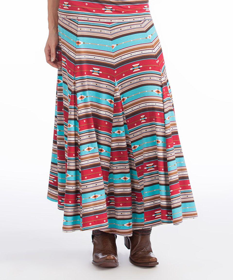 Red & Blue Southwest Stripe Skirt by Rancho Estancia #zulily #zulilyfinds