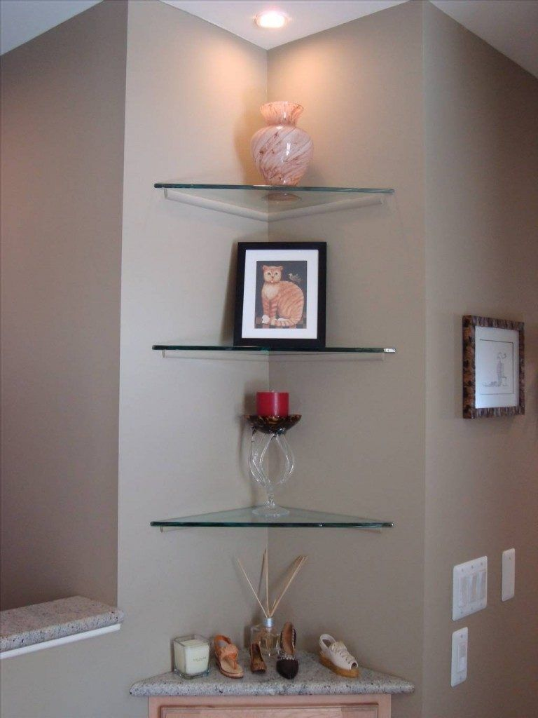 Glass shelving bathroom - Small Glass Corner Shelves For Bathroom