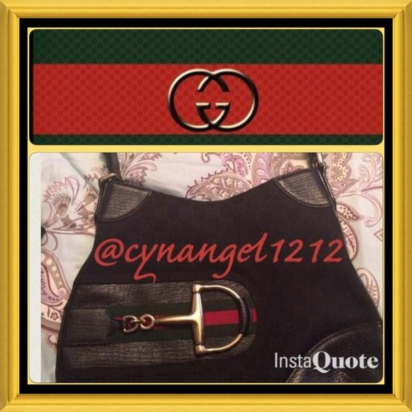 Gucci Medium Hobo Horsebit sale authentic GUCCI Hasler Horsebit WEB Canvas Black purse with black leather strap and trim.  Beautiful gold color chuckles.  Some sign of wear on gold chuckles.Dustbag included. authentic. Serial number 137388-203998. Hard to find. Gucci Bags Hobos