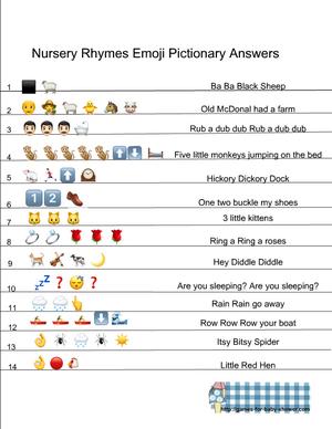 Free Printable Nursery Rhymes Emoji Pictionary Quiz Nursery Rhymes Games Nursery Rhyme Baby Shower Emoji Quiz