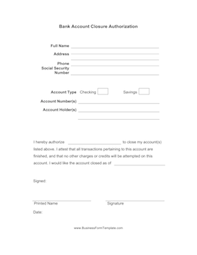 this form can be sent to a bank authorizing it to close an account free to download and print