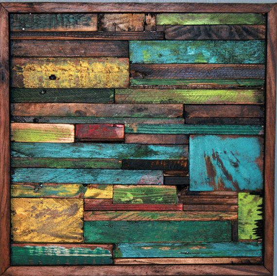 Abstract painting on wood reclaimed r e c y c l a r t for Mural art on wood