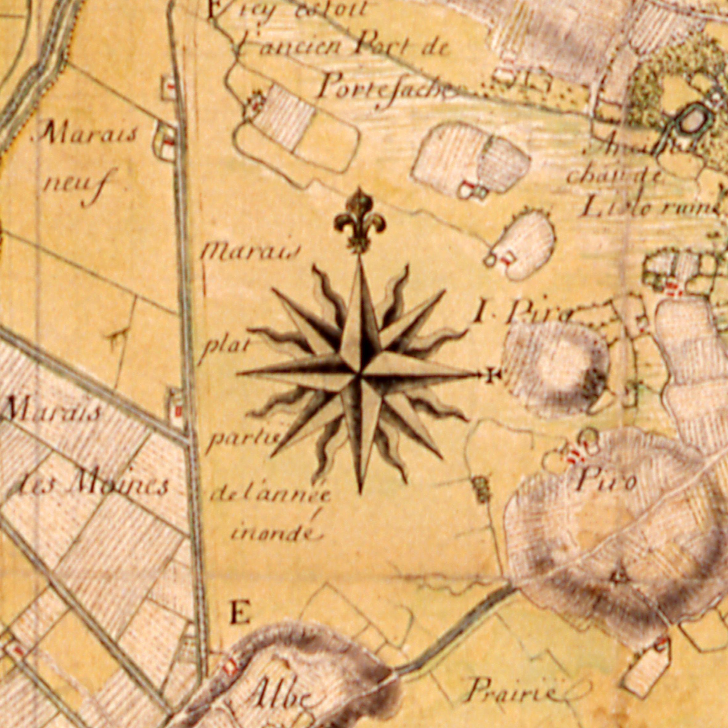 Rose des vents   détail d'une carte de l'Aunis et de la Saintonge