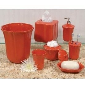 Coral Colored Soap Dish | Skyros Royale Bath Accessories Persimmon Coral