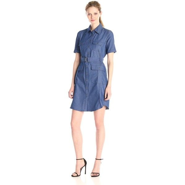 f4f1889cf63 Sharagano Women s Button Down Belted Shirt Dress (150 AUD) ❤ liked on  Polyvore featuring dresses