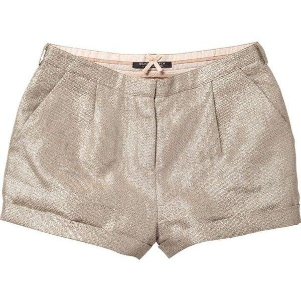 Maison Scotch Metallic Party Shorts (€55) ❤ liked on Polyvore featuring shorts, bottoms, pants, short, maison scotch shorts, metallic gold shorts, maison scotch, party shorts and metallic shorts