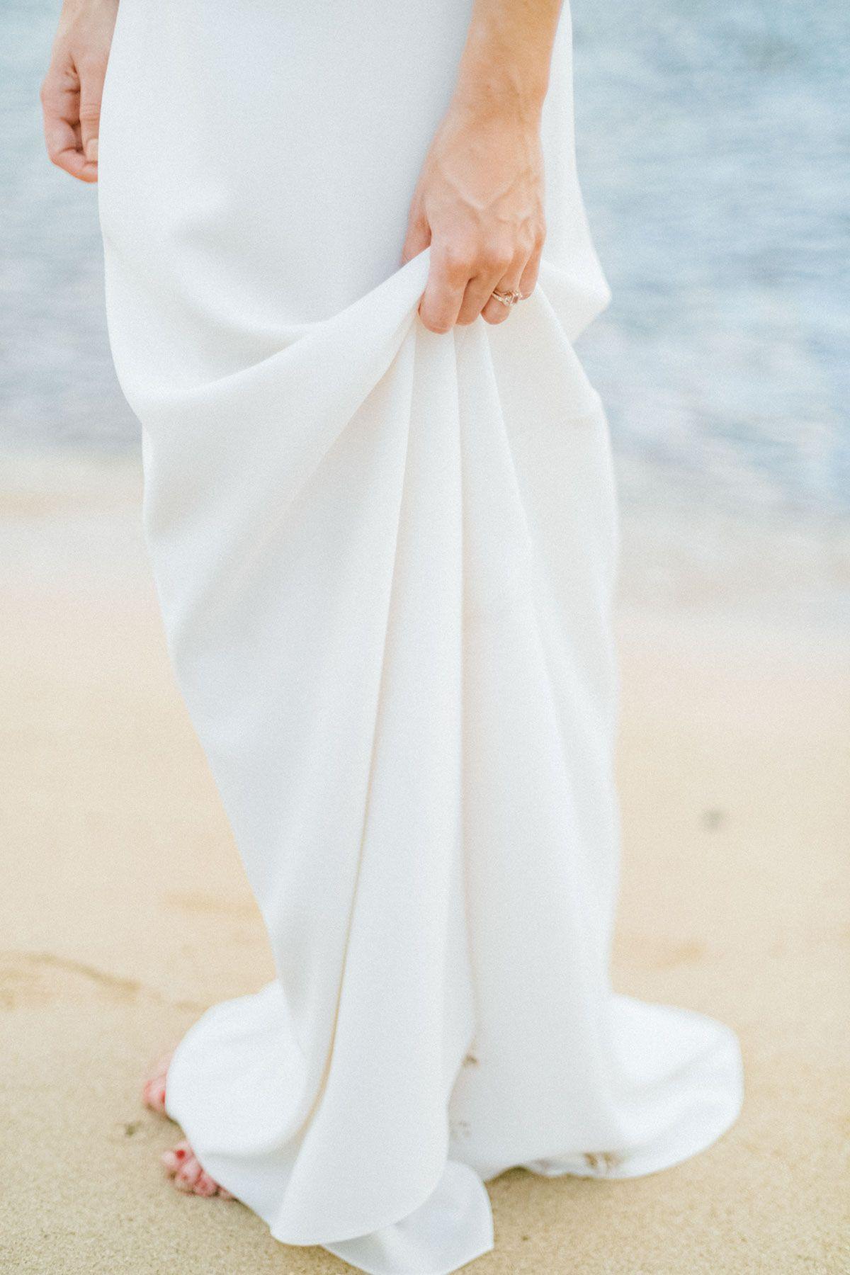 Oahu hawaii destination wedding photographer bride with white