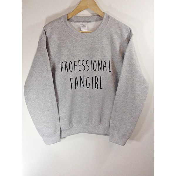 Professional Fangirl Sweatshirt ($23) ❤ liked on Polyvore featuring tops, hoodies, sweatshirts, silver, women's clothing, banded waist tops, patterned sweatshirts, roll top, print sweatshirt and white sweatshirt