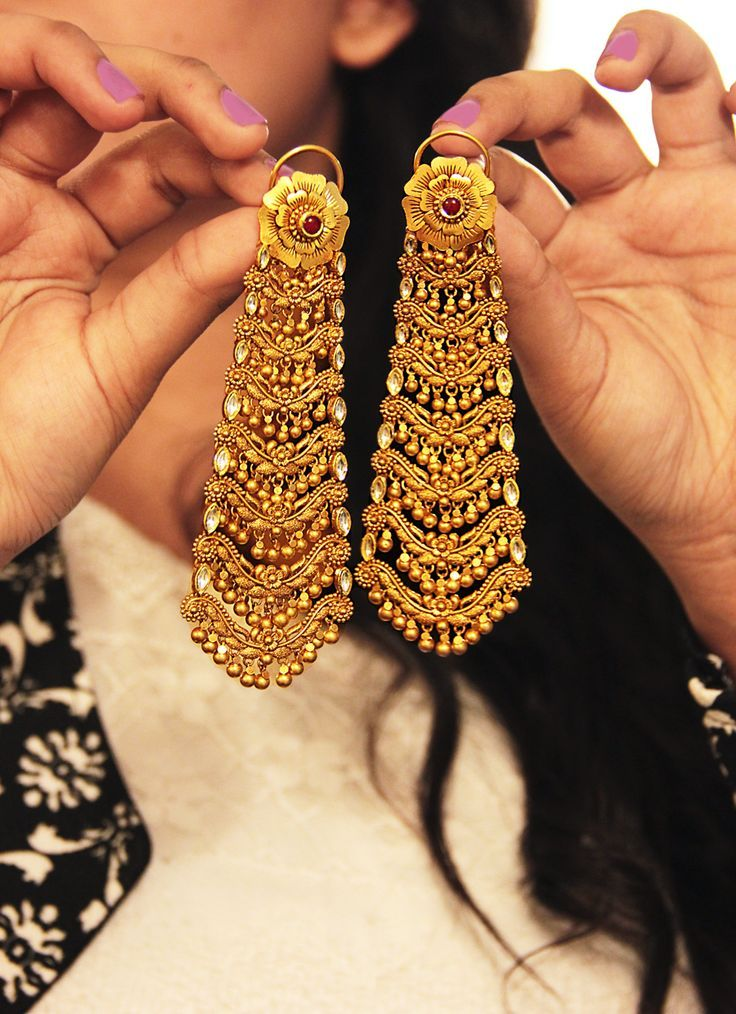 Traditional dangling gold earrings | bridal jewellery | wedding ...