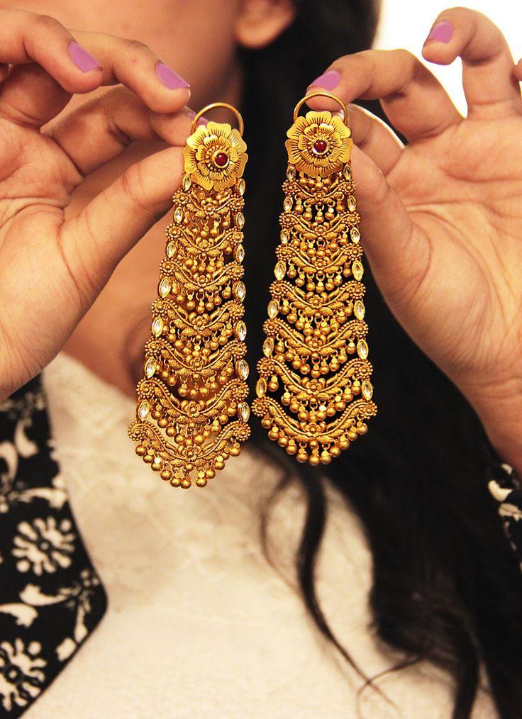 Traditional dangling gold earrings bridal jewellery