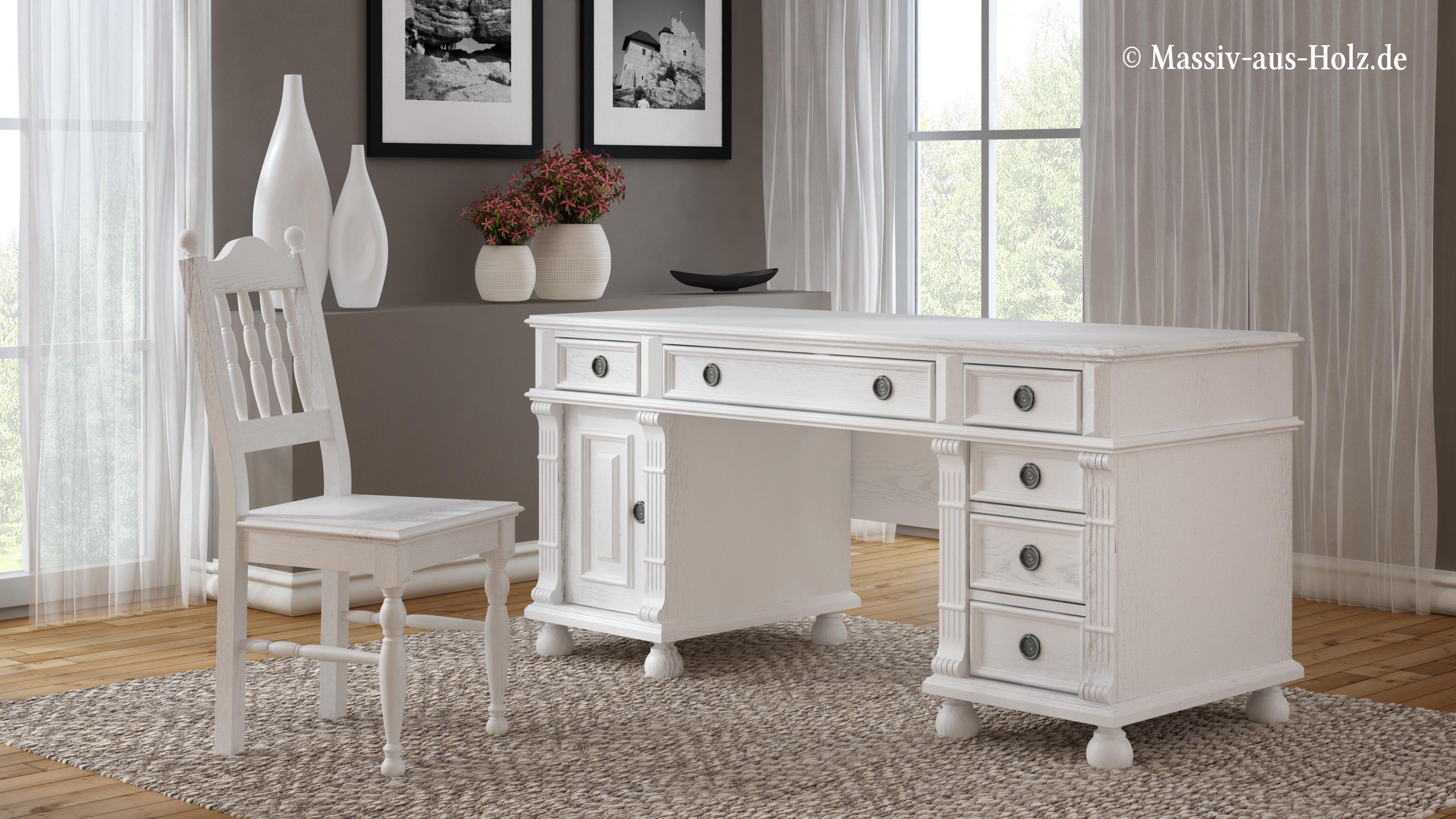 Weisser Schreibtisch Aus Massivholz Im Landhausstil Landhaus Mobel Schreibtischideen Schreibtisch Weiss