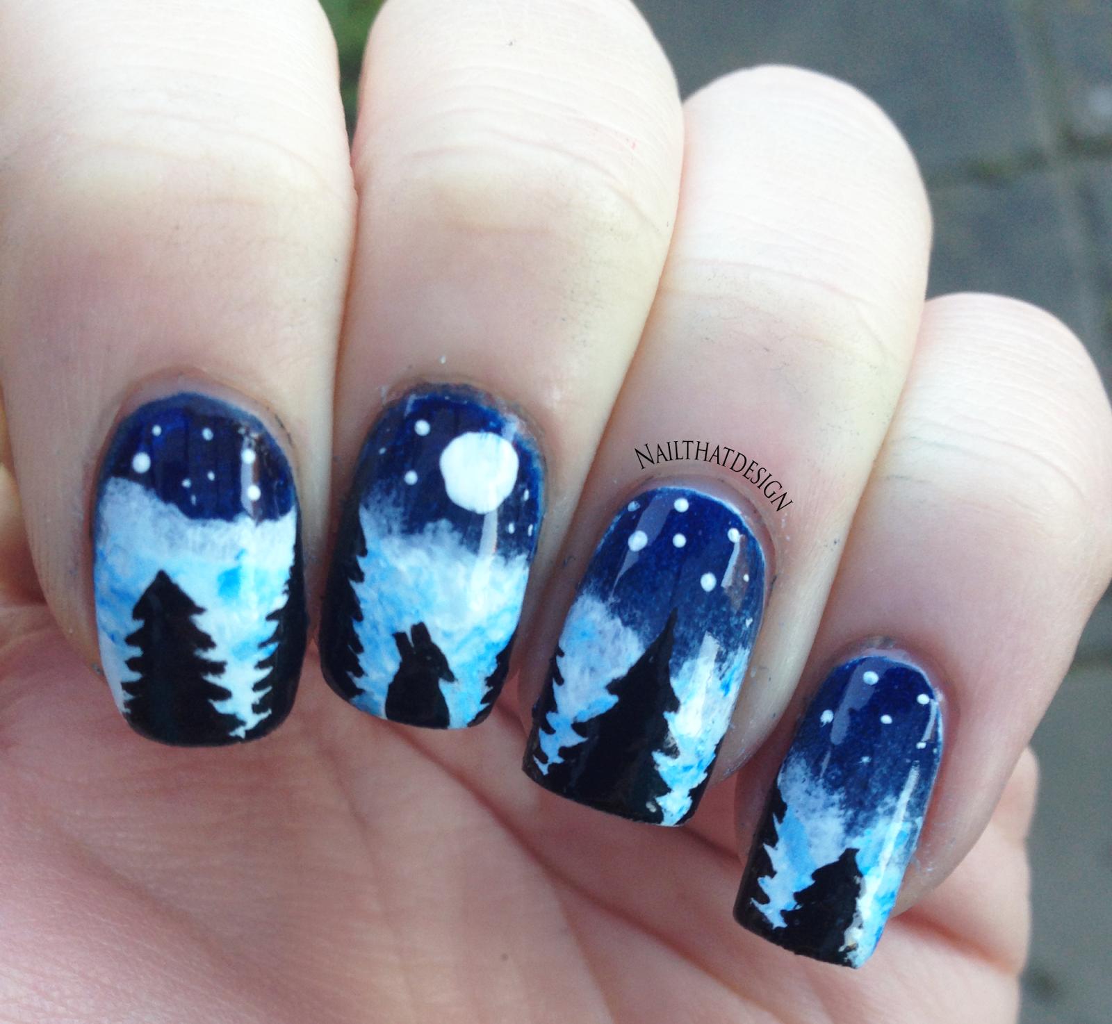 NailThatDesign: Detailed wolf mani | Neglelak | Pinterest | Animal ...