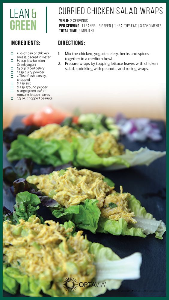 Curried Chicken Salad Wraps Optavia Lean And Green Recipes Lean Meals Greens Recipe