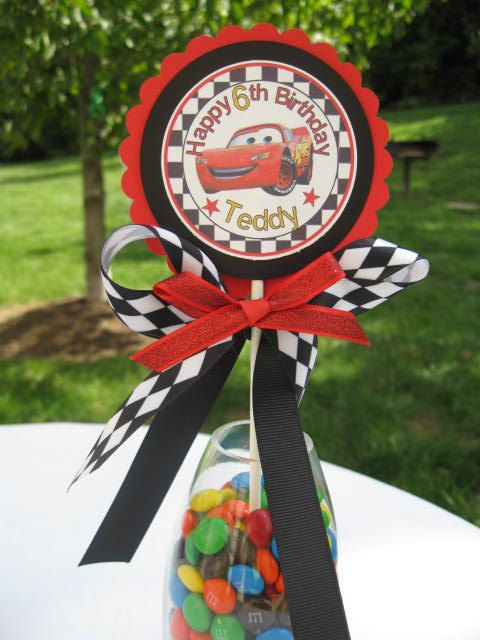 Cars lightning mcqueen party centerpiece cupcake topper