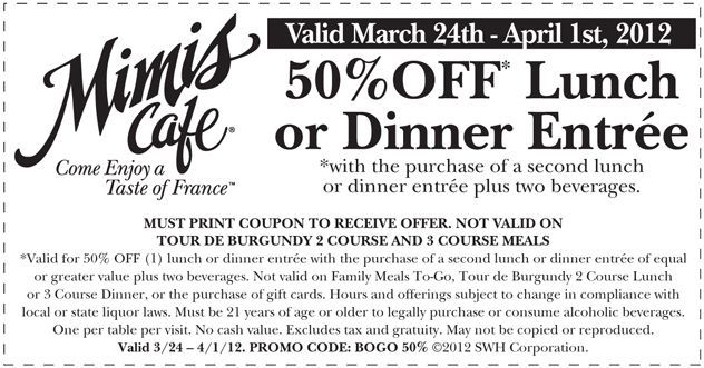 image relating to Mimi's Coupons Printable referred to as 50% off lunch or supper at Mimis Restaurant! #coupon