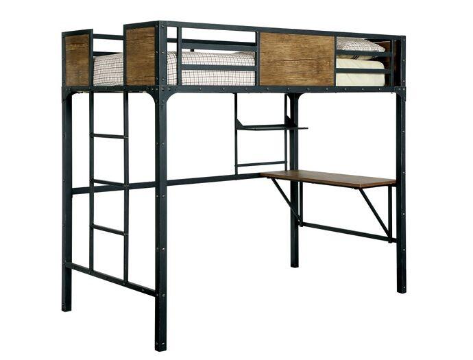 clapton collection black finish metal frame industrial inspired style twin loft workstation bunk bed set - Metal Frame Loft Bed