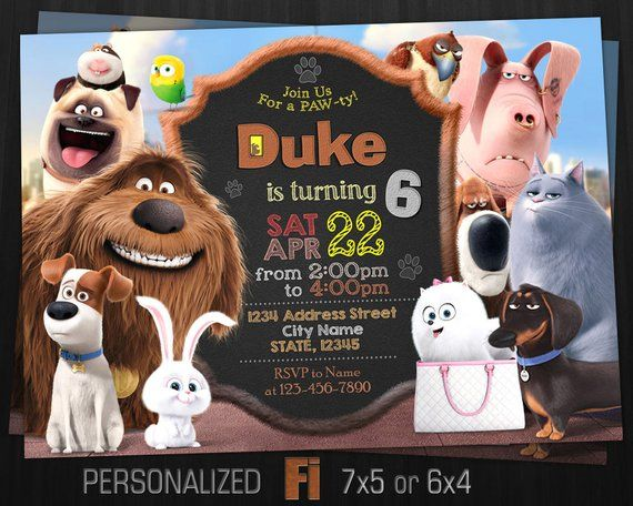 The Secret Life Of Pets Invitation The Secret Life Of Pets