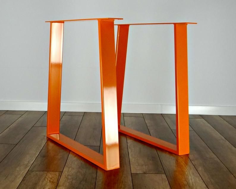 Metal Dining Table Legs Set Of 2 Copper Colour Steel Table Etsy In 2020 Steel Table Legs Dining Table Legs Metal Dining Table