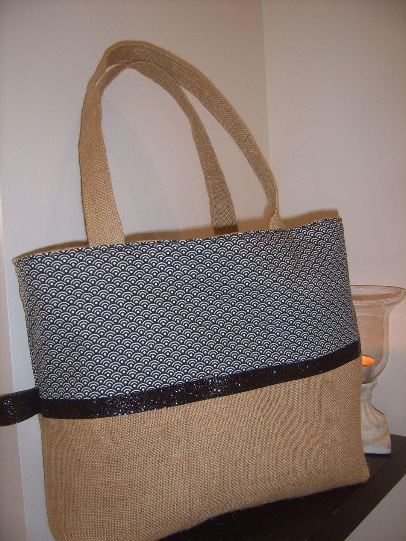 Cabas en toile de jute et coton tendance sacs main par - Tuto sac a main ...