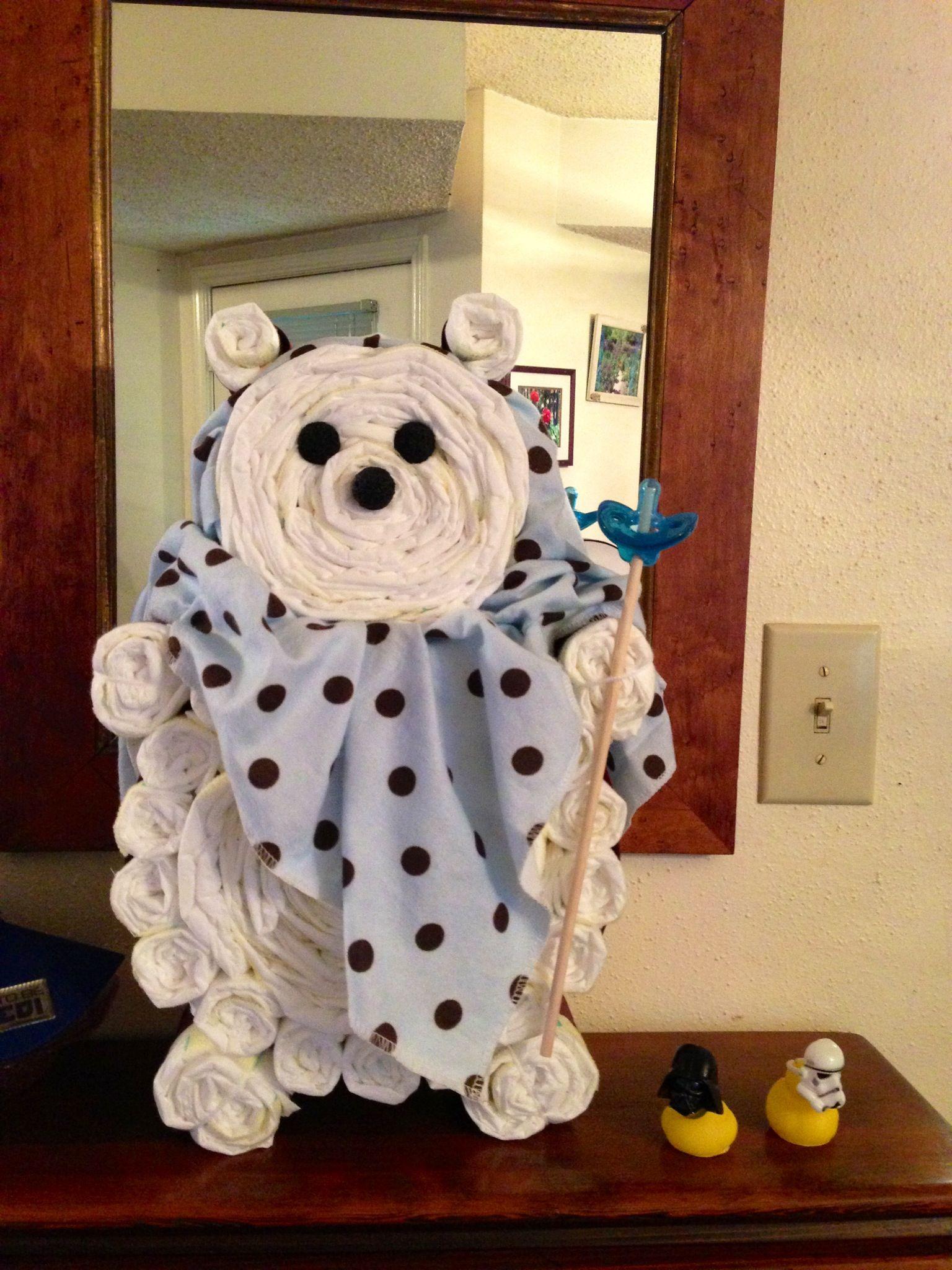 Ewok diaper cake Star Wars themed baby shower Pinterest