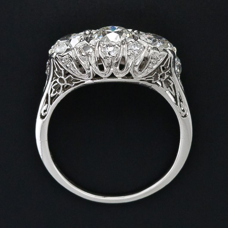 Edwardian Filigree Three Stone Diamond Ring 1stdibs Com Three Stone Diamond Rings Engagement Ladies Diamond Rings Three Stone Diamond Ring