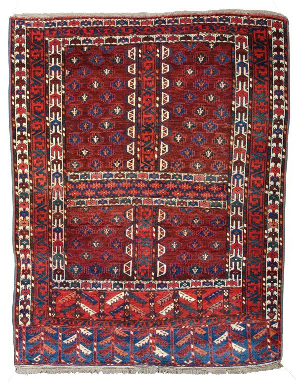 Yomud engsi, Approximately 5ft. 7in. x 4ft. 3in. (157x129cm) Turkmenistan circa 1880
