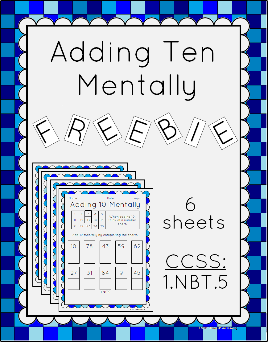 This Worksheet Has Students Adding 10 Mentally Using A Numbers Chart