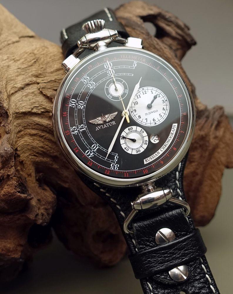 3c94e6738 Detalles de Poljot aviator Bullhead chronograph calibre 31681- ver ...