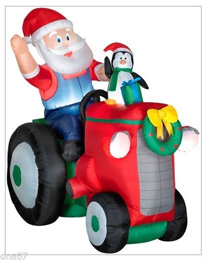 NEW - Gemmy Airblown Santa on a Tractor Animated Christmas