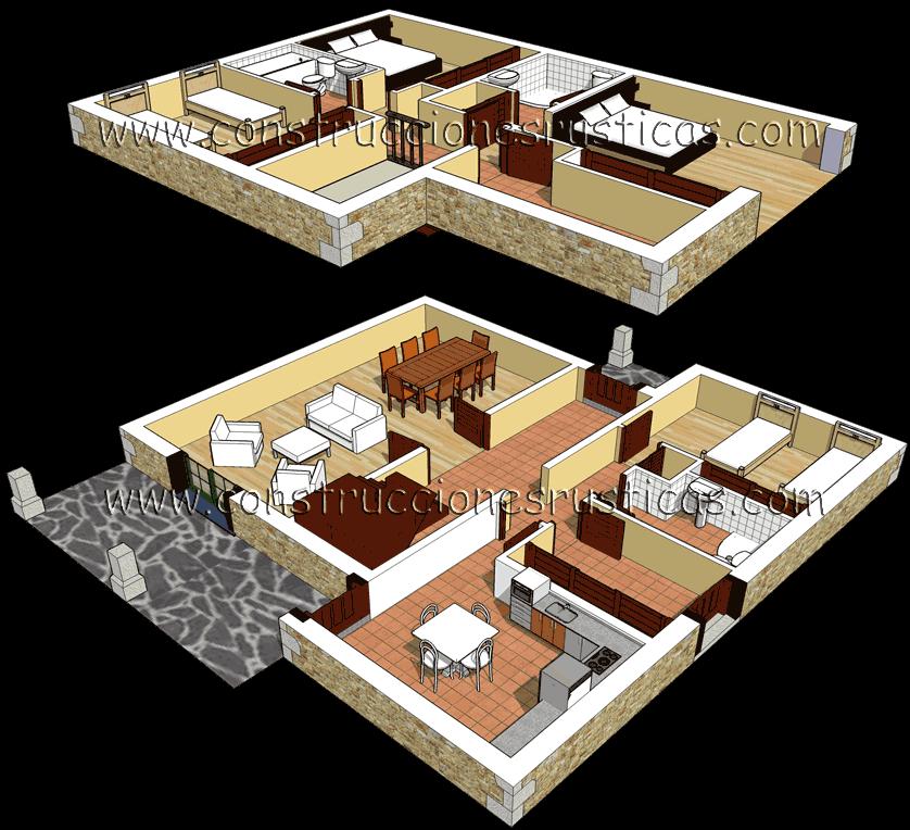 3d de distribuci n interior de casa r stica de piedra de dos plantas de 4 dormitorios planos for Diseno de interiores de casas de dos plantas
