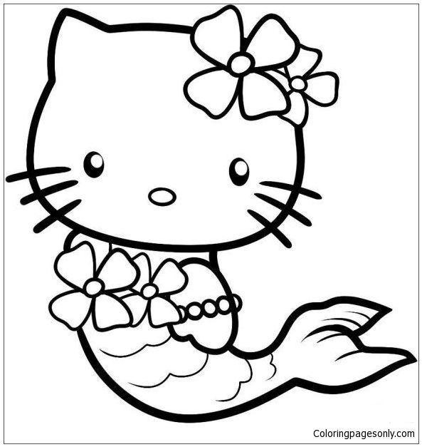 Cute Hello Kitty As A Mermaid Coloring Page Http Coloringpagesonly Com Pages Cute Hello Kitty Hello Kitty Drawing Hello Kitty Colouring Pages Kitty Coloring