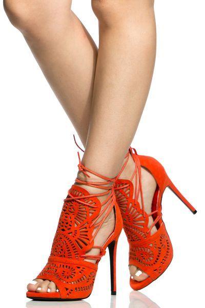 fb81879b39c Orange Faux Suede Peep Toe Wrap Around Heels