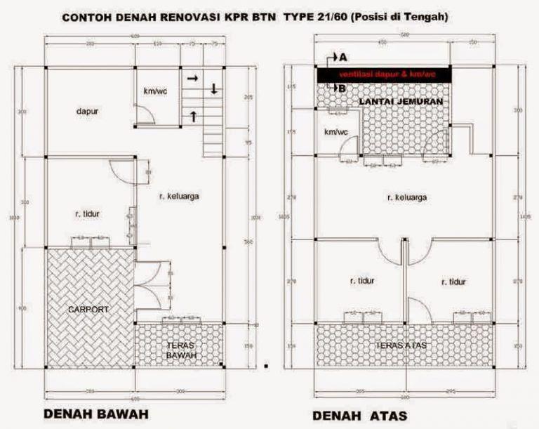 Denah Rumah Minimalis Tipe 21 | Denah rumah, Rumah ...