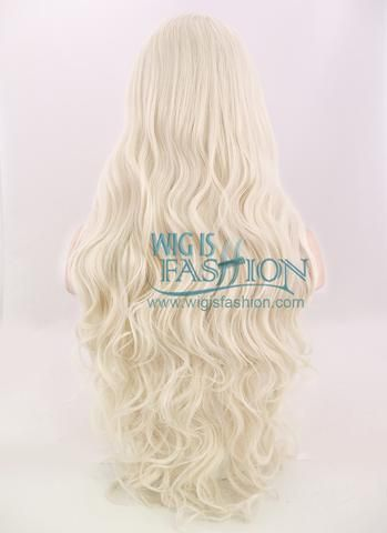 """28"""" Long Curly Platinum Blonde Lace Front Synthetic Hair Wig LF667F"""