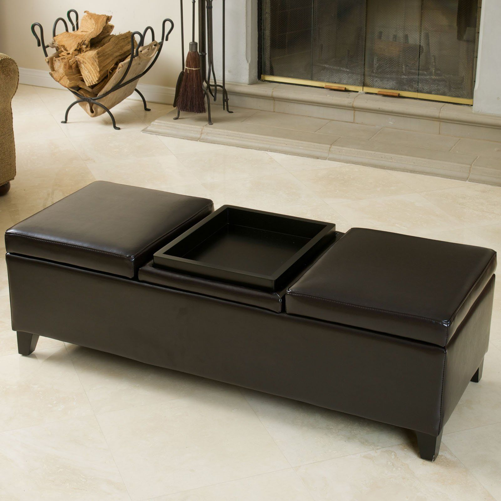 Harold Leather Storage Ottoman Inside And A Built In Tray On The Outside It Doesn T Get Much Better Than