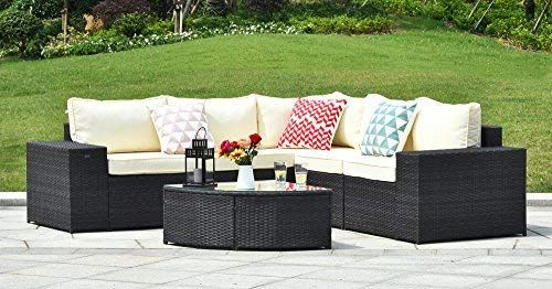 Gotland 6-Piece Outdoor Furniture Sectional Sofa & Glass ... on Outdoor Living Shops Near Me id=37623