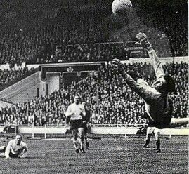 England 2 Scotland 3 in April 1967 at Wembley. England keeper Gordon Banks makes a great save #HomeChamp