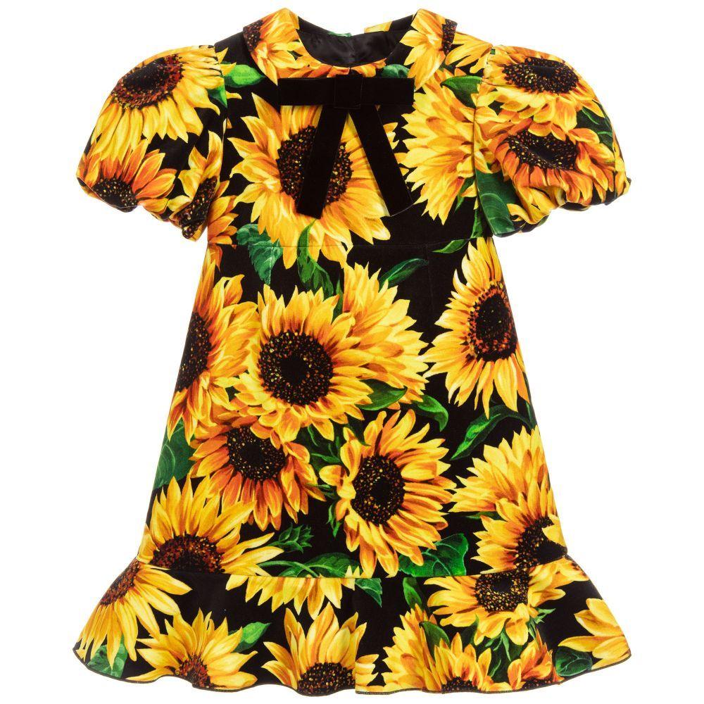 Girls Stunning Black And Yellow Sunflower Dress By Italian Luxury Brand Dolce Gabbana Made In Soft Sunflower Dress Silk Floral Dress Dolce And Gabbana Blue [ 1000 x 1000 Pixel ]